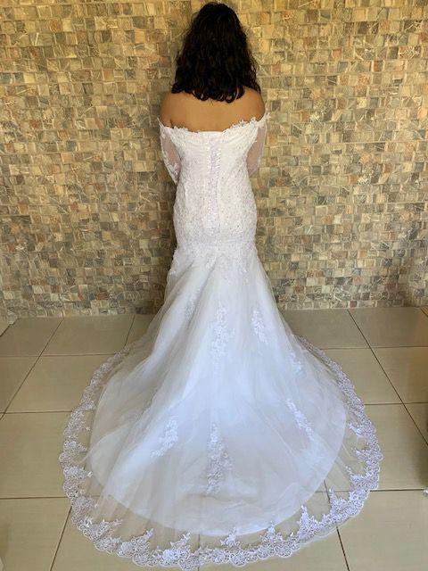 Vestido Noiva Sereia Michela Manga Ombro a Ombro