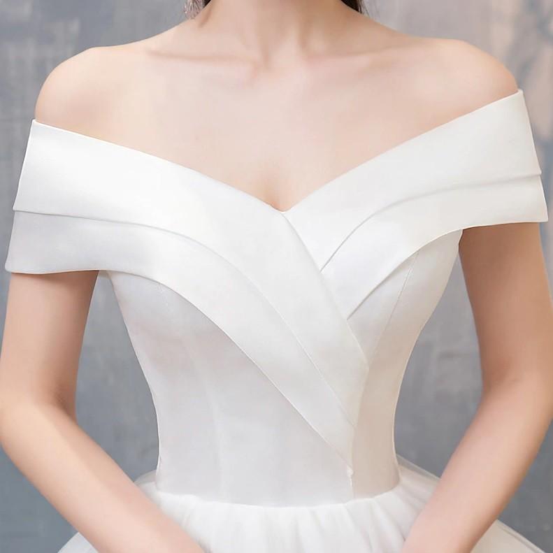 Vestido Ombro a Ombro Tule e Cetim Off White