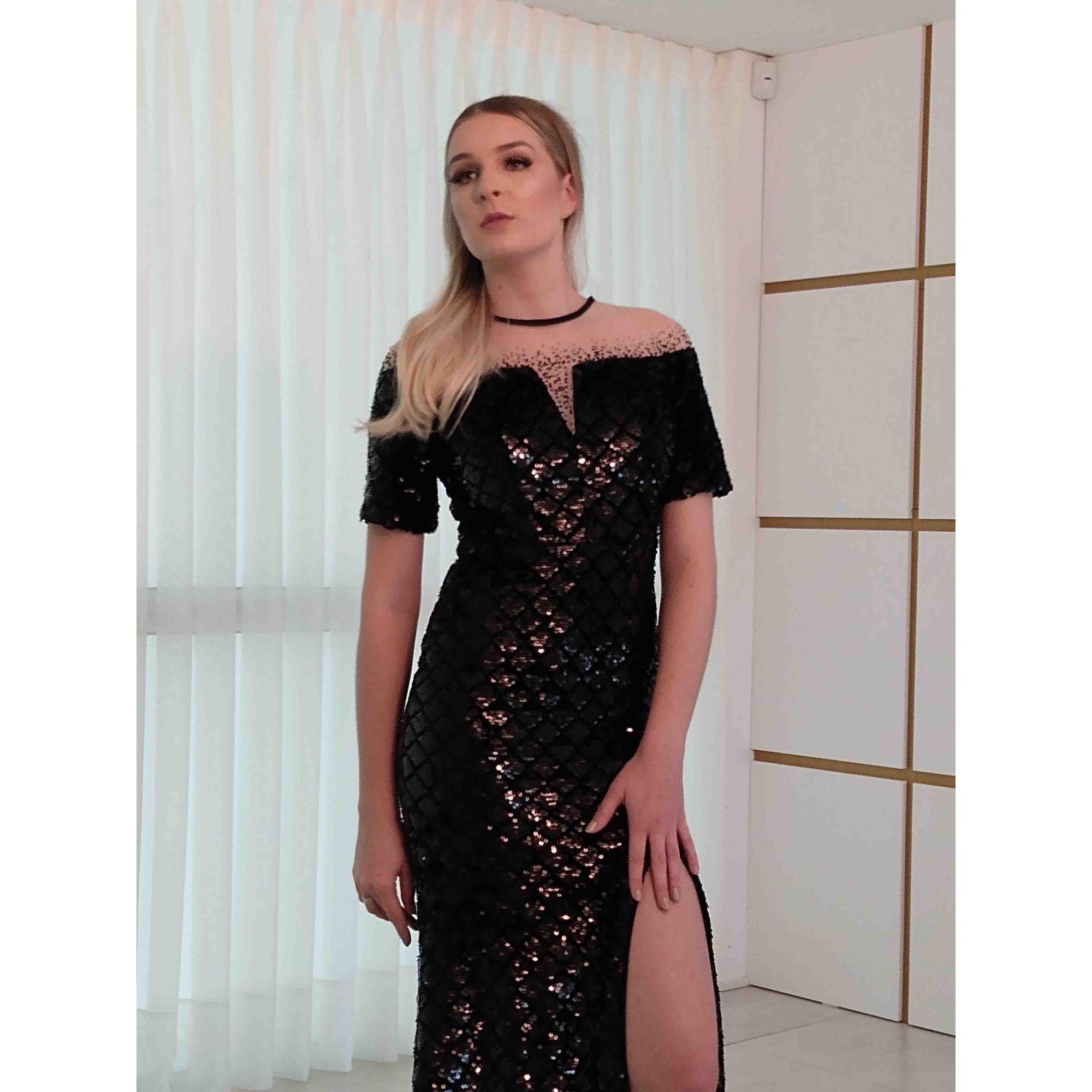 Vestido Preto com Fenda Super Luxo