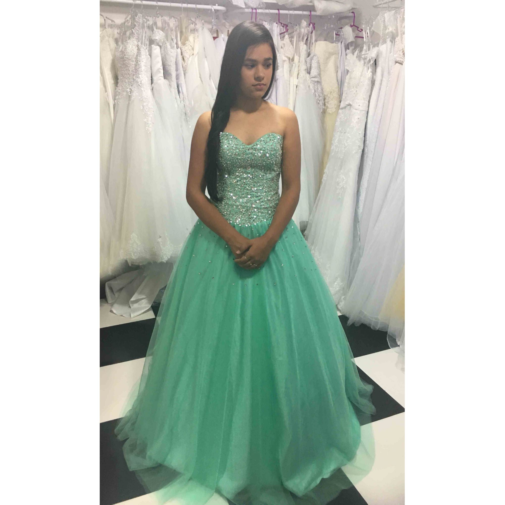 Vestido Princesa Debutante Verde Agua