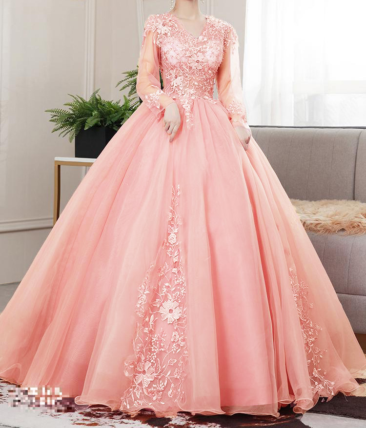Vestido Princesa Manga Longa Pêssego