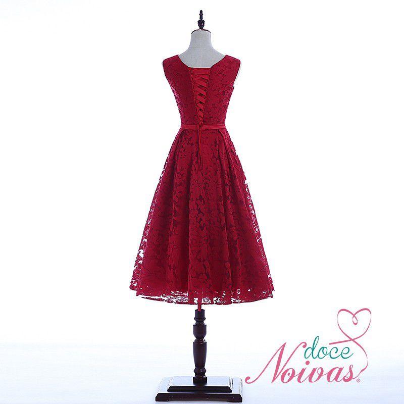 Vestido Rendado Vermelho Escuro