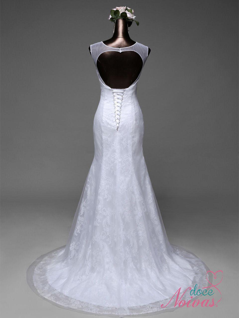 Vestido Sereia Decote Tule