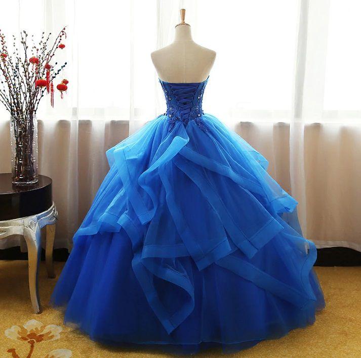 Vestido Tomara que Caia Camadas Azul Bic