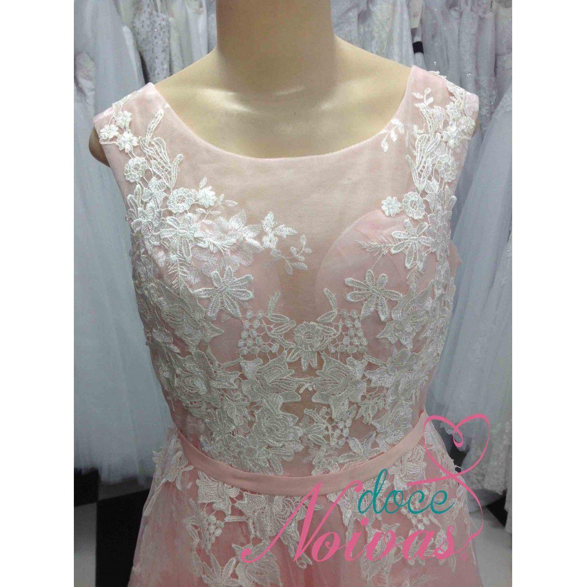 Vestido Festa Debutante Noiva Curto Rosa