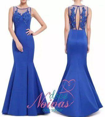 Vestido Longo Sereia Azul Bic