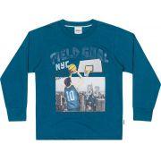 Camiseta Infantil Masculina Inverno Azul Field Elian