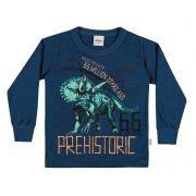 Camiseta Masculina Infantil Inverno Azul Marinho Prehistoric Elian