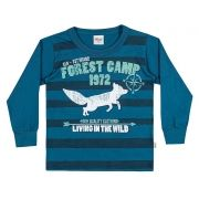 Camiseta Masculina Infantil Inverno Azul Forest Camp Elian