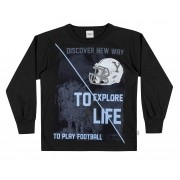 Camiseta Masculina Infantil Inverno Preta To Explore Life Elian