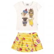 Conjunto Feminino Infantil Amarelo Sorvete Elian