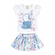 Conjunto Feminino Infantil Azul Bolsa Colorittá