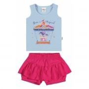 Conjunto Feminino Infantil Azul Carrossel Elian