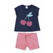 Conjunto Feminino Infantil Azul Marinho Cerejinhas Malwee