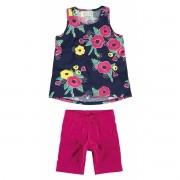 Conjunto Feminino Infantil Azul Marinho Floral Malwee