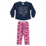 Conjunto Infantil Feminino Inverno Azul Marinho Love Elian