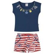 Conjunto Feminino Infantil Azul Marinho Navy Elian
