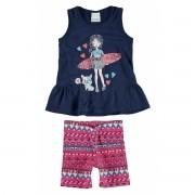 Conjunto Feminino Infantil Azul Marinho Surfista Malwee