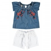 Conjunto Feminino Infantil Bordado Jeans Carinhoso