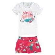 Conjunto Feminino Infantil Branco Mermaid Malwee