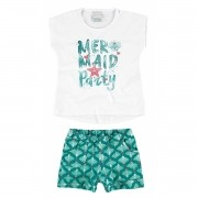 Conjunto Feminino Infantil Branco Mermaid Party Malwee