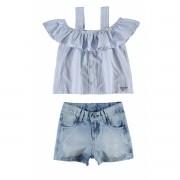 Conjunto Feminino Infantil Ciganinha Jeans Carinhoso
