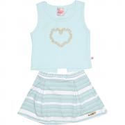 Conjunto Infantil Feminino Azul Coração Abrange