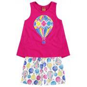 Conjunto Feminino Infantil Rosa Balão Kyly