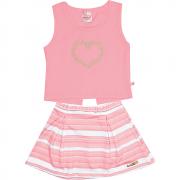 Conjunto Infantil Feminino Rosa Coração Abrange
