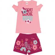 Conjunto Infantil Feminino Rosa Look Abrange