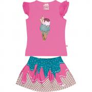 Conjunto Infantil Feminino Rosa Sorvete Abrange