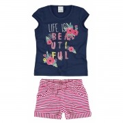Conjunto Feminino Infantil Life is Beautiful Malwee