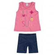 Conjunto Feminino Infantil Rosa Hello Summer Malwee