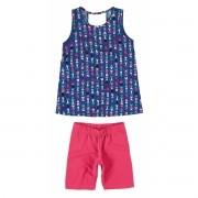 Conjunto Feminino Infantil Azul Marinho Corações Malwee