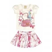 Conjunto Feminino Infantil Rosa Bolsa Colorittá