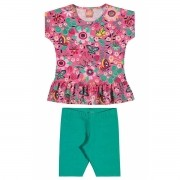 Conjunto Feminino Infantil Rosa Floral Elian