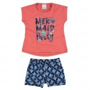 Conjunto Feminino Infantil Salmão Mermaid Party Malwee