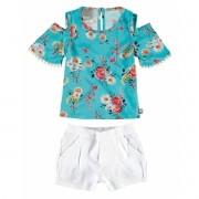 Conjunto Feminino Infantil Turquesa Floral Carinhoso
