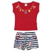 Conjunto Feminino Infantil Vermelho Navy Elian