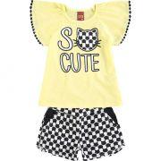Conjunto Infantil Feminino Amarelo Verão Kyly