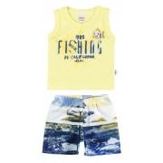 Conjunto Masculino Infantil Amarelo Fishing Elian