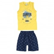 Conjunto Masculino Infantil Amarelo Surfer Soul Malwee