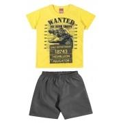 Conjunto Masculino Infantil Amarelo Wanted Elian