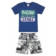 Conjunto Masculino Infantil Azul Now is the Start Malwee