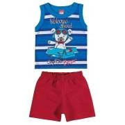 Conjunto Masculino Infantil Azul Royal Welcome Abord Elian