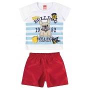 Conjunto Masculino Infantil Branco Bulldog Elian