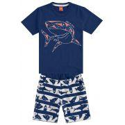 Conjunto Infantil Masculino Marinho Tubarão Kyly