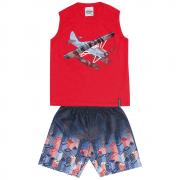 Conjunto Masculino Infantil Vermelho Helicoptero Abrange