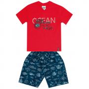 Conjunto Masculino Infantil Vermelho Ocean Abrange