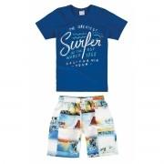 Conjunto Masculino Infantil Azul Royal Surfer Malwee